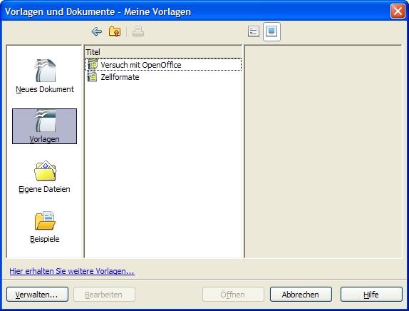OpenOffice.Calc: Dokumentvorlage verwenden