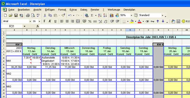 Screenshot vom Programm: DienstplanUA