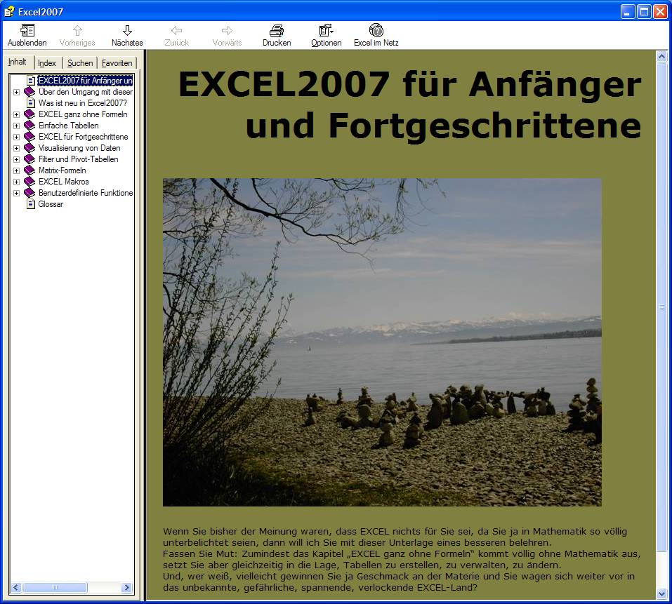 Screenshot vom Programm: Tutorial Excel2007