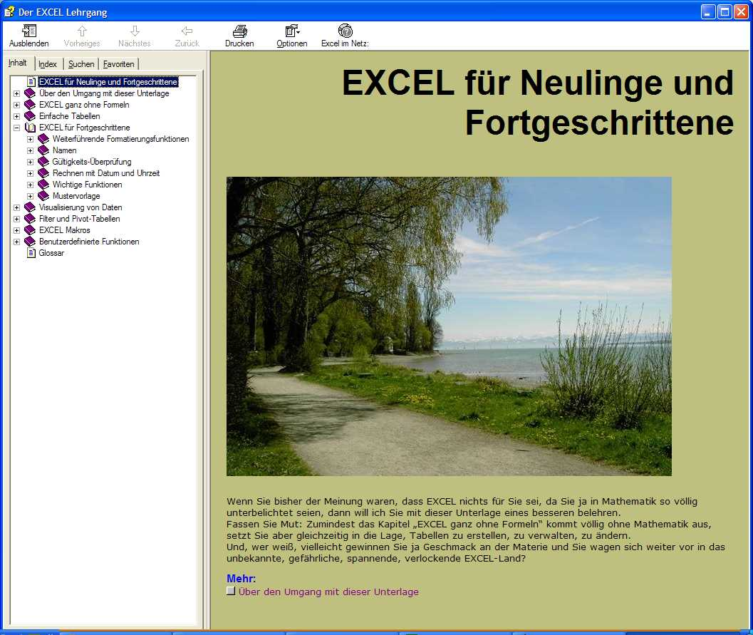 Screenshot vom Programm: Der Excel Lehrgang
